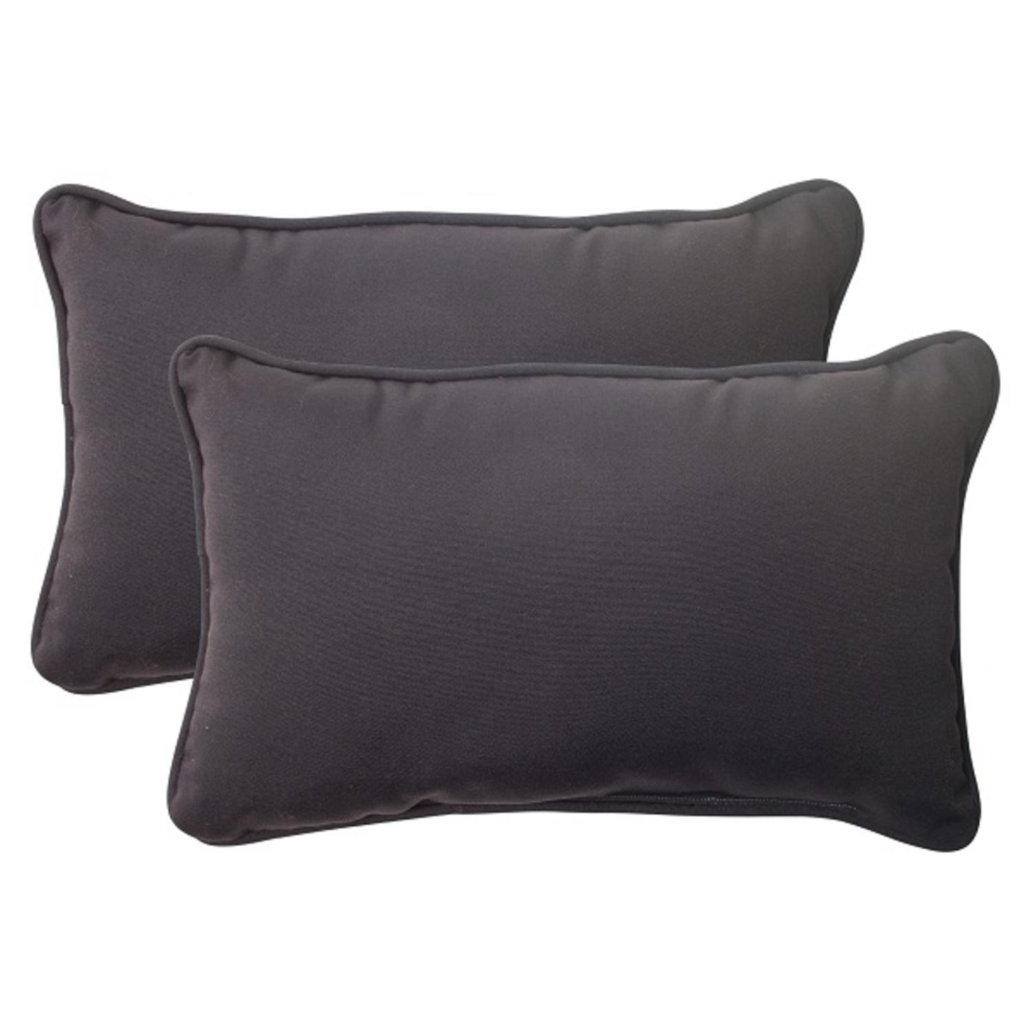 Set of 2 Solid Dark Gray Outdoor Patio Corded Rectangular Throw Pillows 18.5""