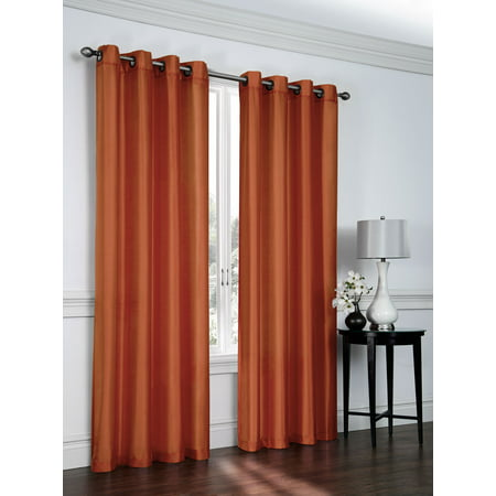 2 Pack: Regal Home Collections Ultra Luxurious Semi Sheer Shimmer Grommet Top Curtain Panels - Spice ()