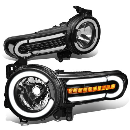 For 2007 to 2014 toyota FJ Cruiser Pair LED DRL+Sequential Turn Signal Front Bumper Headlight Corner Lamps Black / Clear 08 09 10 11 12 13 ()