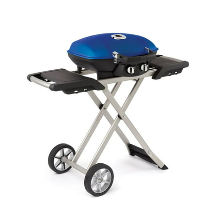 Napoleon TravelQ 285 Portable Compact Propane Gas Grill with Scissor Cart, Blue ()