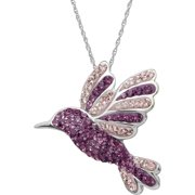 "Brilliance Fine Jewelry Sterling Silver Hummingbird Pendant made with Crystals, 18"" Necklace"