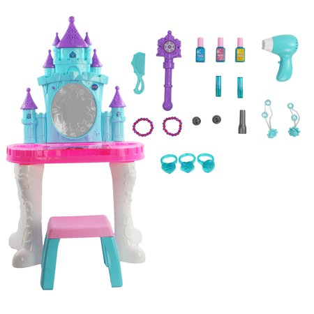 Toy Magical Snow Castle Themed Vanity Mirror Hair & Fashion Playset Accessories Girls Lights Magical Sounds Fit a Little Princess