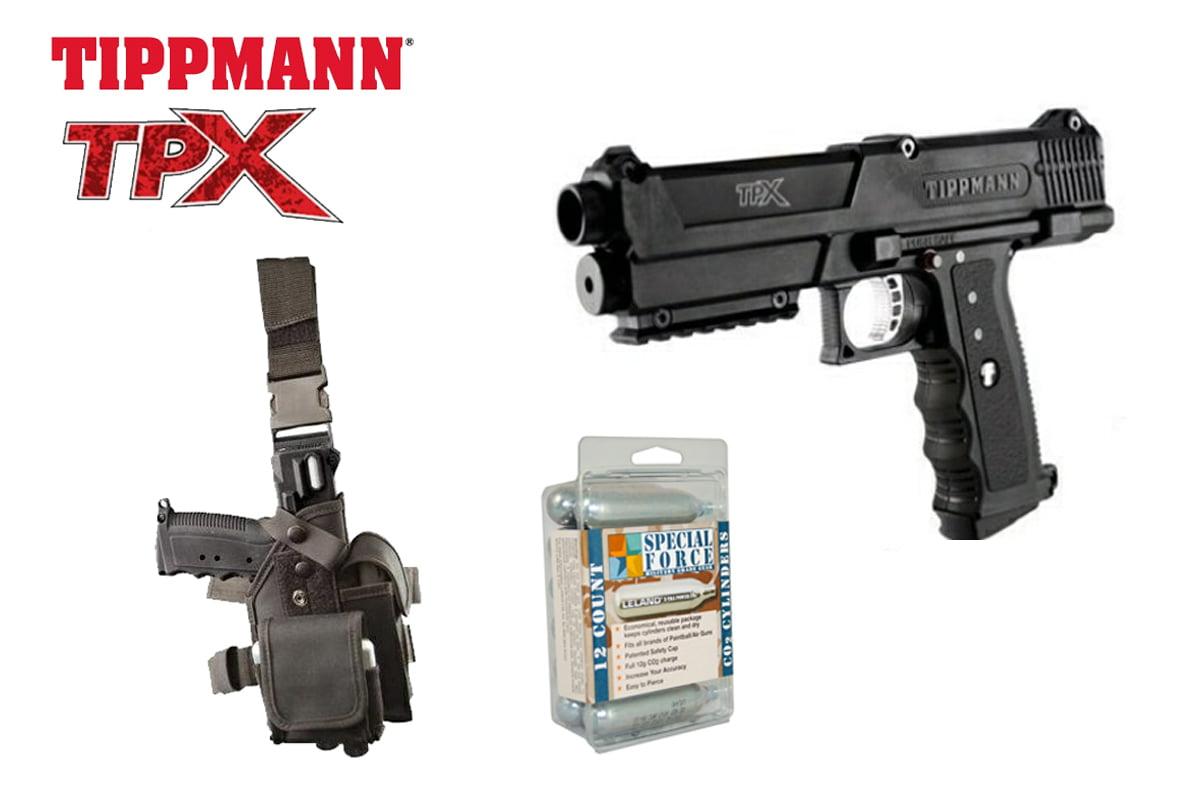 Tippmann TiPX Paintball Marker Pistol + GTA Holster + 12 CO2 Cartridges by