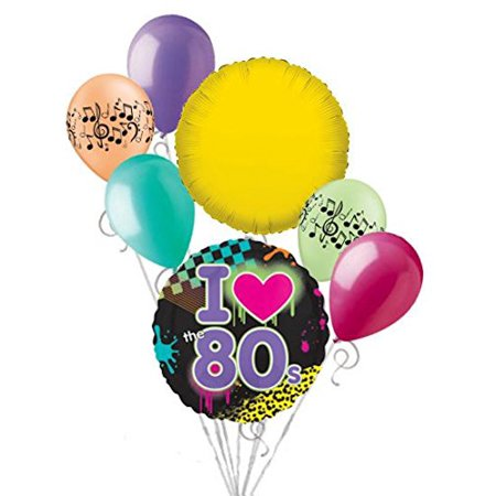7 Pc I Totally Love 80s Balloon Bouquet Happy Birthday Neon Party