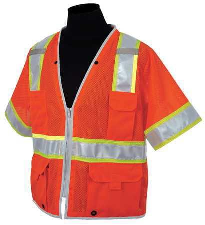 ML KISHIGO High Visibility Vest,Class 3,3XL,Orange 1551-3X