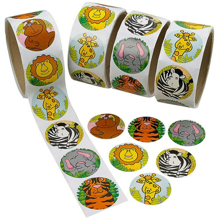 Zoo Animal Stickers Roll – 4 Rolls - 1.5 Inch Diam. - 400 Assorted Colors Animals Stickers – For Kids Great Party Favors, Fun, Gift, Prize Teachers, Tutors, Class Rewards – By Kidsco