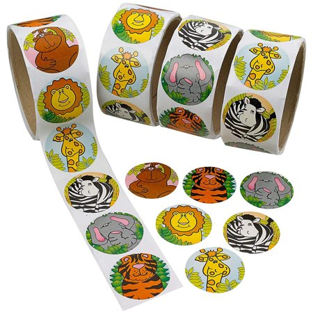 Zoo Animal Stickers Roll – 4 Rolls - 1.5 Inch Diam. - 400 Assorted Colors Animals Stickers – For Kids Great Party Favors, Fun, Gift, Prize Teachers, Tutors, Class Rewards – By Kidsco](Halloween Teacher Gift Ideas)
