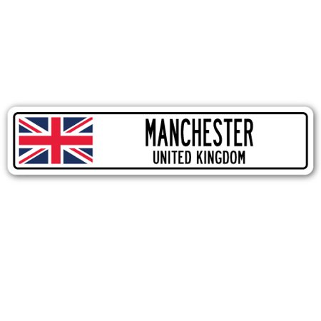 Manchester, United Kingdom Street [3 Pack] of Vinyl Decal Stickers | Indoor/Outdoor | Funny decoration for Laptop, Car, Garage , Bedroom, Offices | SignMission - Garage Decal For Halloween