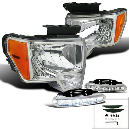 Spec-D Tuning For 2009-2014 Ford F150 Chrome Crystal Headlights Headlamps + Led Daytime Fog Lamp (Left+Right) 2009 2010 2011 2012 2013