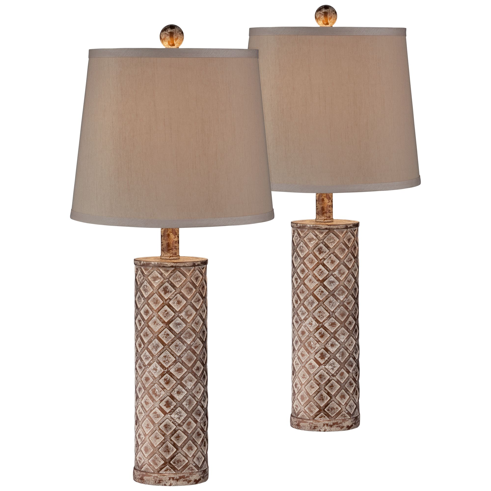 360 Lighting Cottage Table Lamps Set of 2 Gold Wash Lattice Column Tapered Drum Shade for Living Room Family Bedroom Nightstand