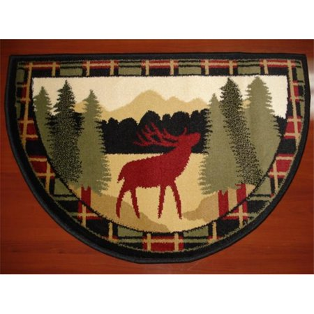 IMS 28625618662640 Hearth Rug Wild Life Moose In Forest Design Lodge Cabin Fireplace