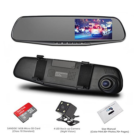 dash cam oumax dual lens car camera car video recorder for vehicles front and rear dvr 4 3. Black Bedroom Furniture Sets. Home Design Ideas