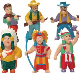 6ct Cowboy & Indian Figurines Assortment Cake Adornments (2 inches)