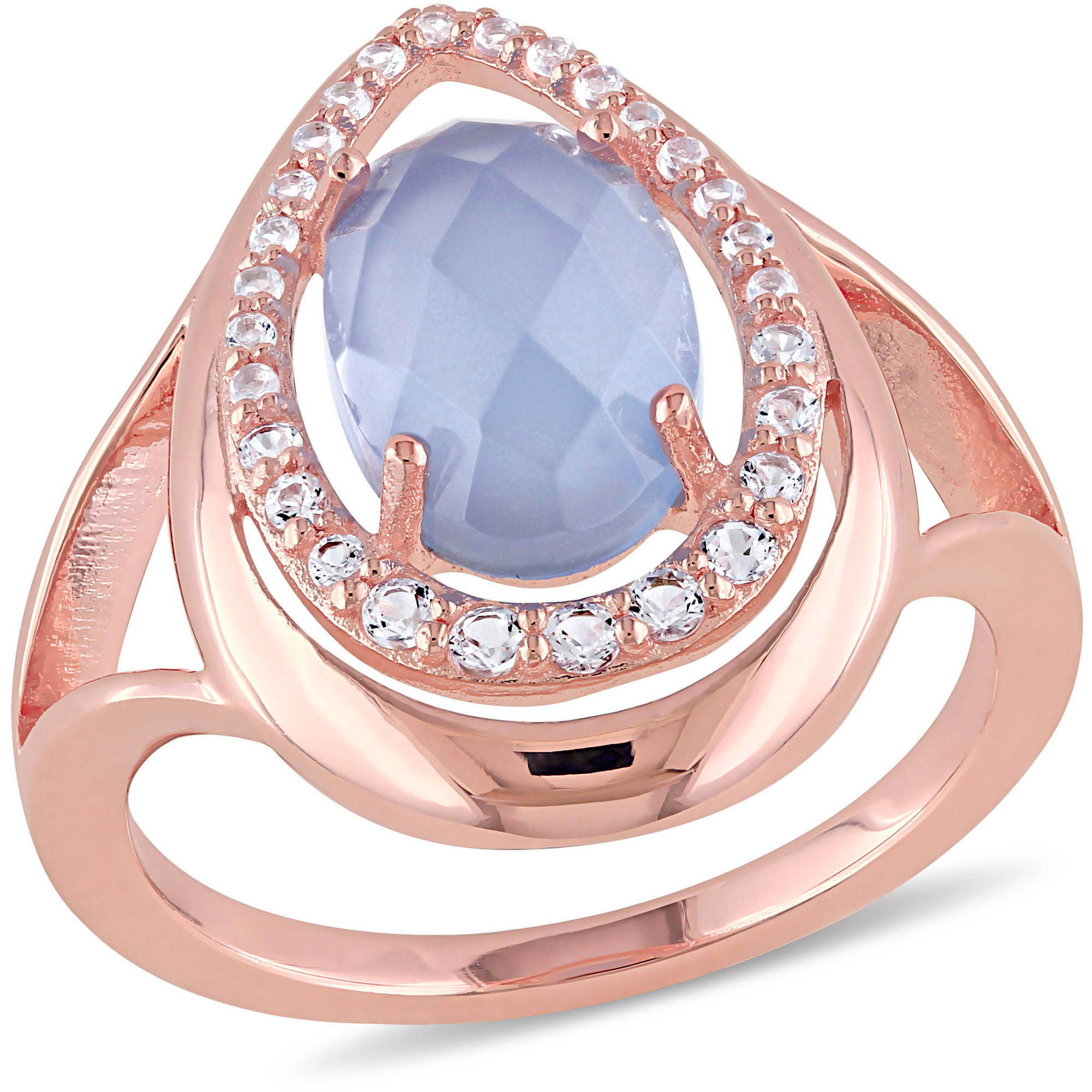 Tangelo 4-3 4 Carat T.G.W. Blue Chalcedony and White Topaz Rose Rhodium-Plated Sterling Silver Halo Cocktail Ring by Tangelo