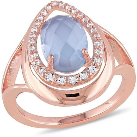 Tangelo 4-3/4 Carat T.G.W. Blue Chalcedony and White Topaz Rose Rhodium-Plated Sterling Silver Halo Cocktail Ring