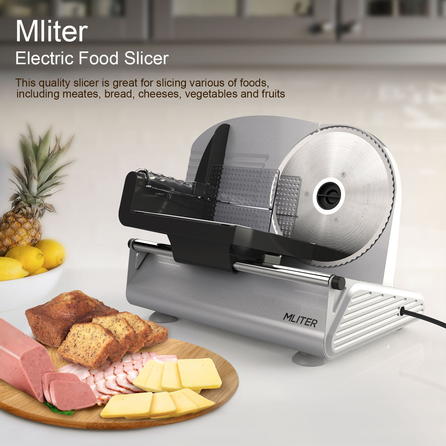 "Electric Food Slicer, 7.5"" Blade Electric Meat Slicer Cheese Deli Meat Food Cutter Kitchen Home (Thickness 0-15mm)"