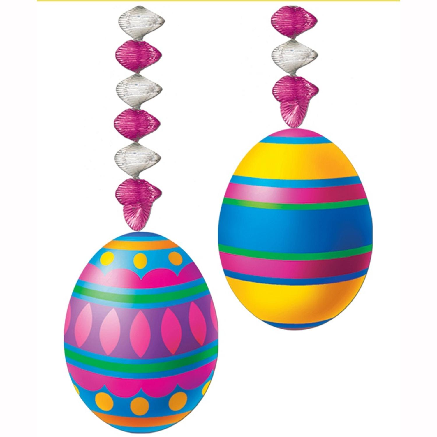 Pack of 24 Multi-Color Easter Egg Danglers Party Decorations 30""