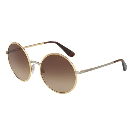 Dolce & Gabbana 0DG2155 Sun Full Rim Round Womens Sunglasses - Size 56 (Gold / Brown (All Gold Sunglasses)