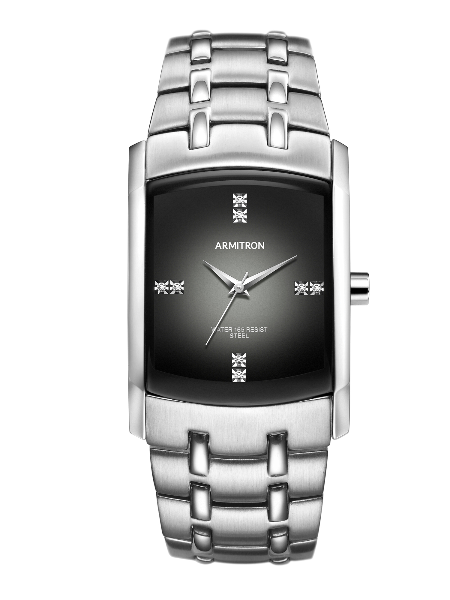 Men's Swarovski Crystal-Accented Silver-Tone Gray-Degrade Dial Dress Watch