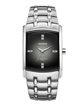 Men's Swarovski Crystal-Accented Silver-Tone Gray-Degrade Dial Dress Watch