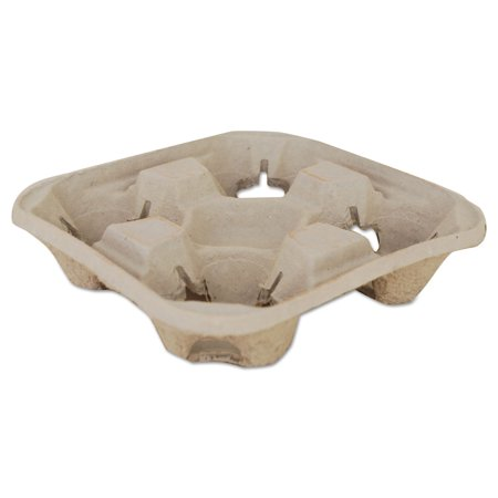 Molded Fiber Drink Carriers, 8-32oz Cups, 4-Cup Tray, 9 1/4x9 1/4x2 1/4, 300/CT