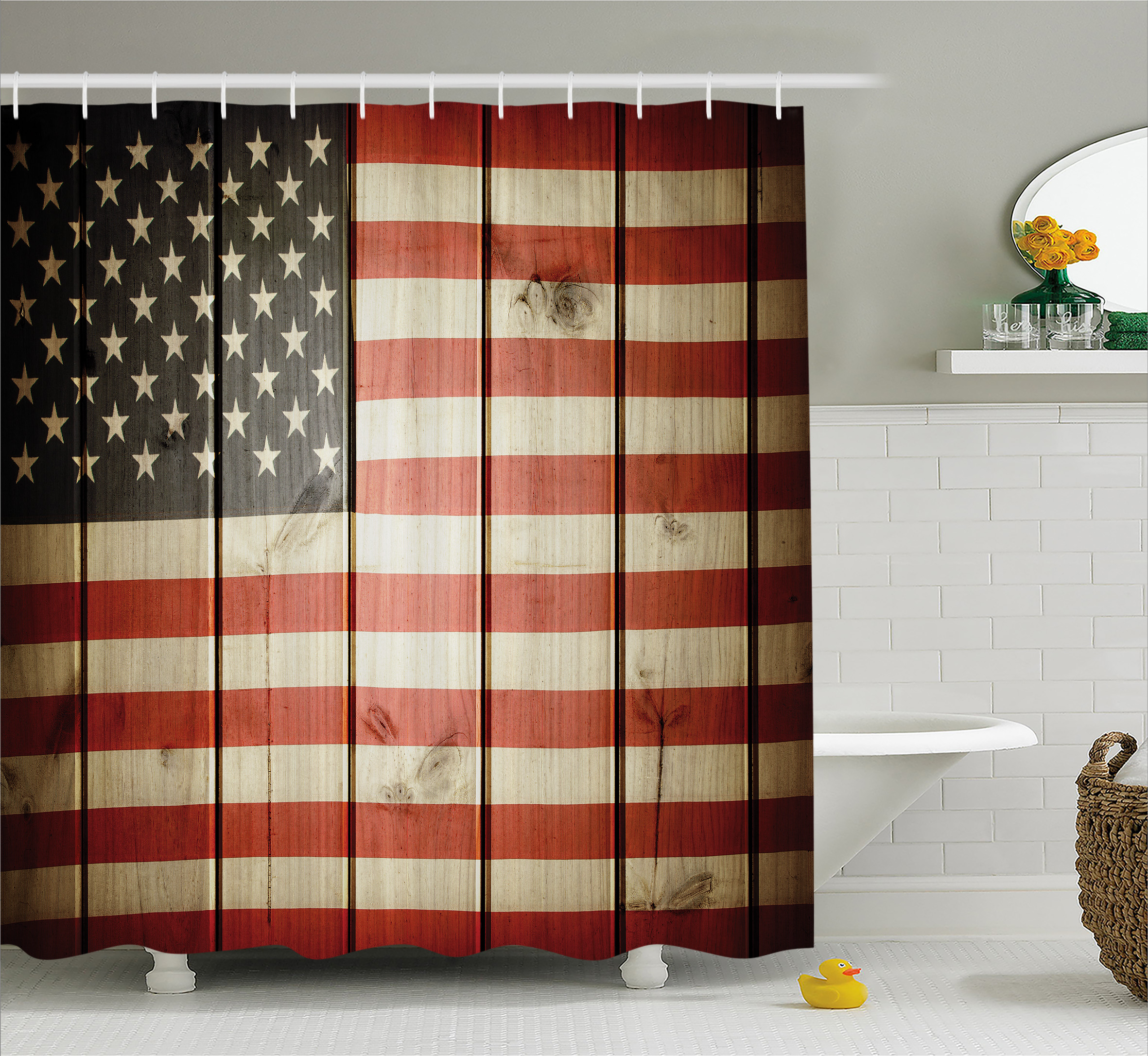 American Flag Decor Shower Curtain, Usa Flag over Vertical Striped Wooden Board Citizen Solidarity Kitsch Art, Fabric Bathroom Set with Hooks, 69W X 70L Inches, Blue Red, by Ambesonne