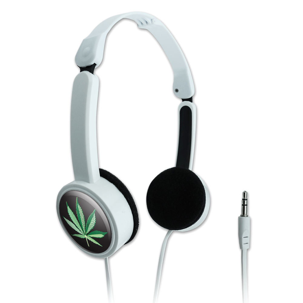 Marijuana Pot Weed Leaf Bud Ganja Green Mary Jane on Black Novelty Travel Portable On-Ear Foldable Headphones