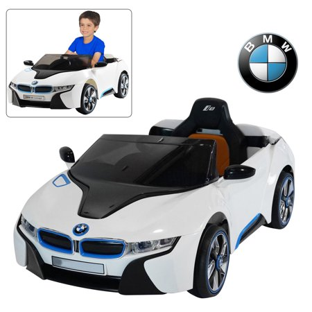 BMW i8 12V Kids Ride On Car With Remote Control | Official Licensed Power Battery Kid Car To Drive With 2.4G Radio Parental Control White](Kids Toy Cars)