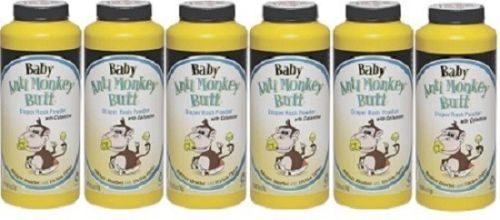6 Pack Baby Anti Monkey Butt Diaper Rash Powder w Calamine 6oz by Anti Monkey Butt