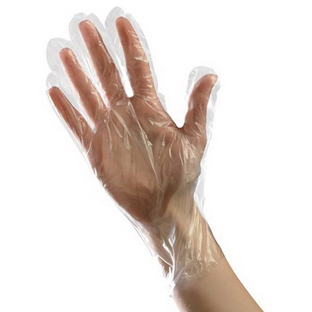 Tradex Ambitex Large Polyethylene Ambidextrous Disposable Gloves Clear, Embossed Textured, 0.63 Mil   500/Box, 20 Box/Case