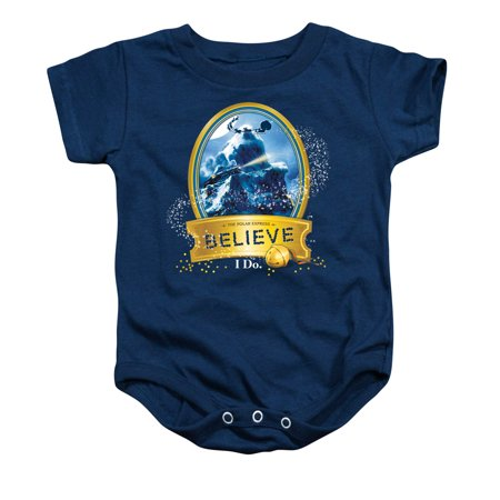 6 Navy Rib (Trevco POLAR EXPRESS TRUE BELIEVER Navy Infant Unisex Onesie )