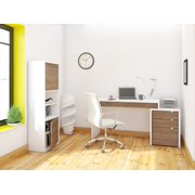 Nexera Liber-T Reversible Panel Desk and Filing Cabinet with Bookcase, White & Walnut