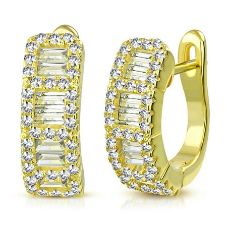 925 Sterling Silver Baguette Round CZ Hoop Huggie Earrings, 0.5