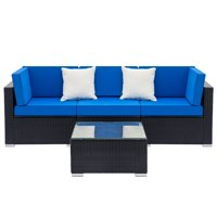 Product Image Hommoo Outdoor Furniture Sectional Sofa Set 4pcs All Weather Brown Pe Rattan Wicker