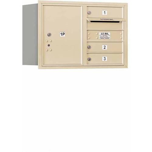 "Salsbury Industries 4C Horizontal Mailbox 5-Door High Unit (20""), Double Column, 3 MB1 Doors, 1 PL5, Aluminum, Rear Load, Private Access"