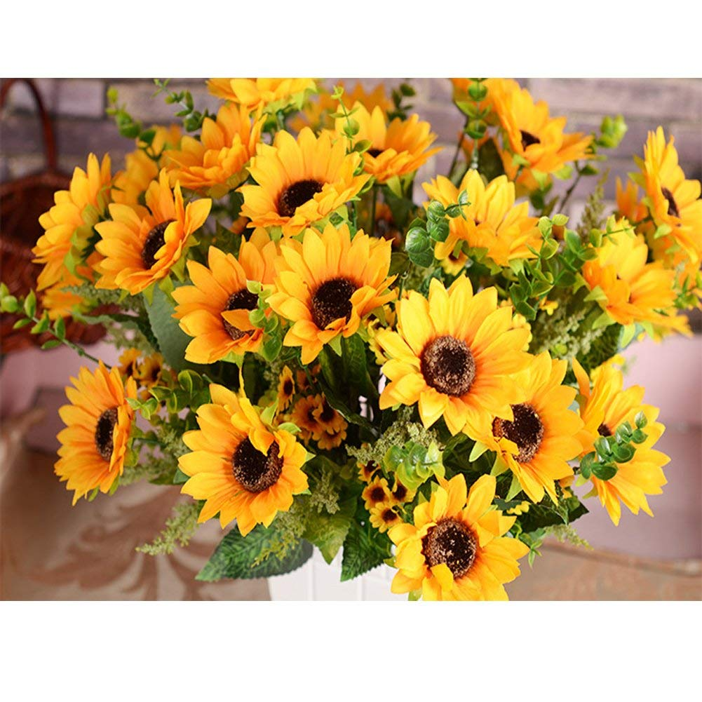 Outgeek Artificial Sunflower Bouquet Artificial Plants Fake Flowers Home Decorations, 7 Flowers Per Bunch, 3 Bunches Per Pack