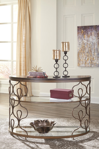 Ashley Fraloni Sofa Table in Bronze Finish T086-4 by Ashley Furniture