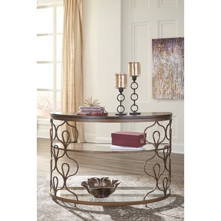 (Ashley Fraloni Sofa Table in Bronze Finish T086-4)