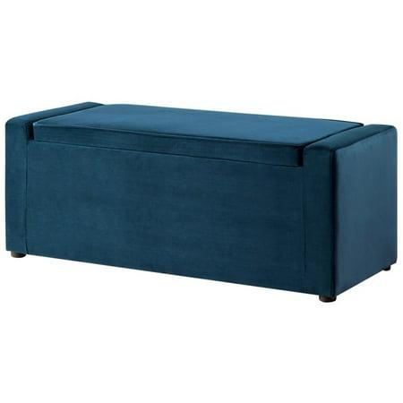 Jake Blue Velvet Storage Bench Shoe Storage