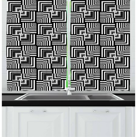 Black and White Curtains 2 Panels Set, Geometric Op Art Pattern Unusual Checked Optical Illusion Effect Modern, Window Drapes for Living Room Bedroom, 55W X 39L Inches, Black White, by Ambesonne (Pacific Window)