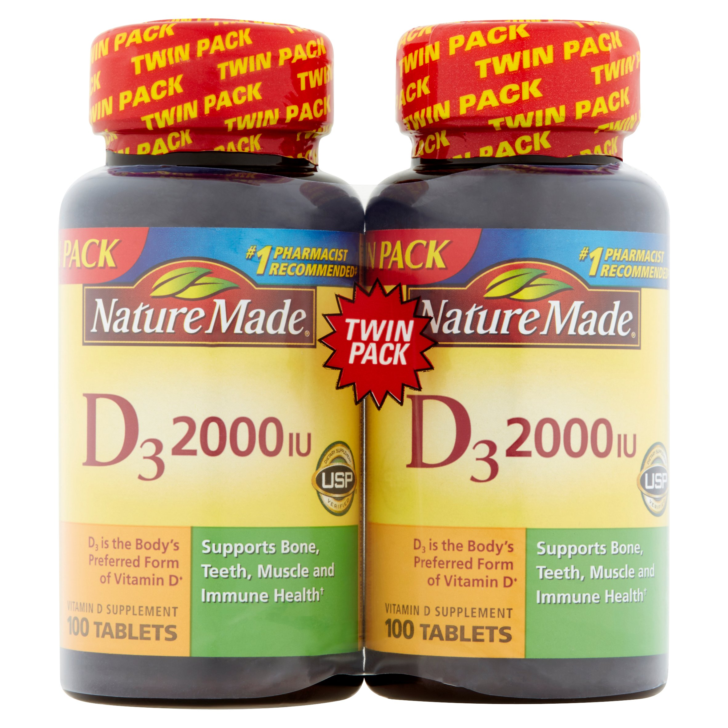 Nature Made Vitamin D3 2000 IU Supplement Tablets, 100 count, 2 pk