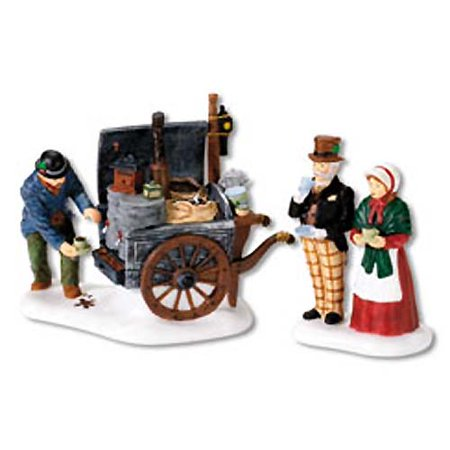 department 56 dickens' village the coffee stall building and accessory figurine (set of 2) ()