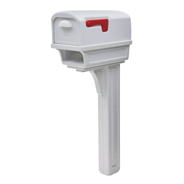 Gibraltar Mailboxes Gentry Large Capacity Plastic White All-in-One Mailbox and Post Combo, GGC1W0000