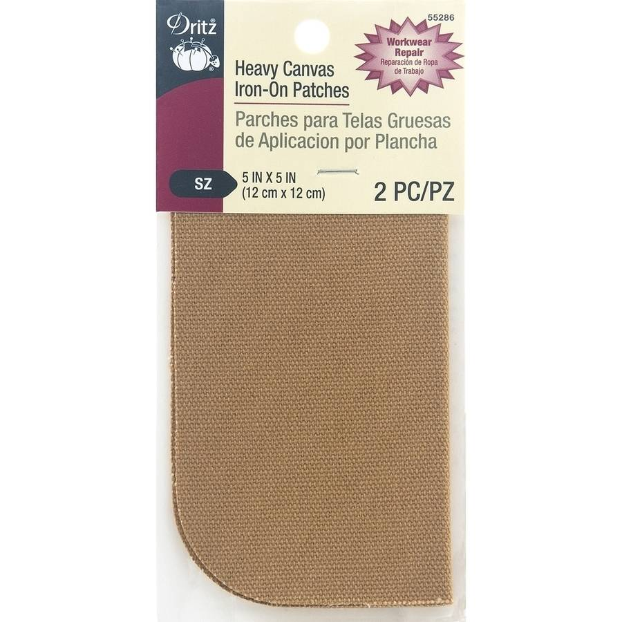 "Dritz Iron-On Heavy Canvas Patches, 5"" x 5"", 2pk, Golden Light Brown"