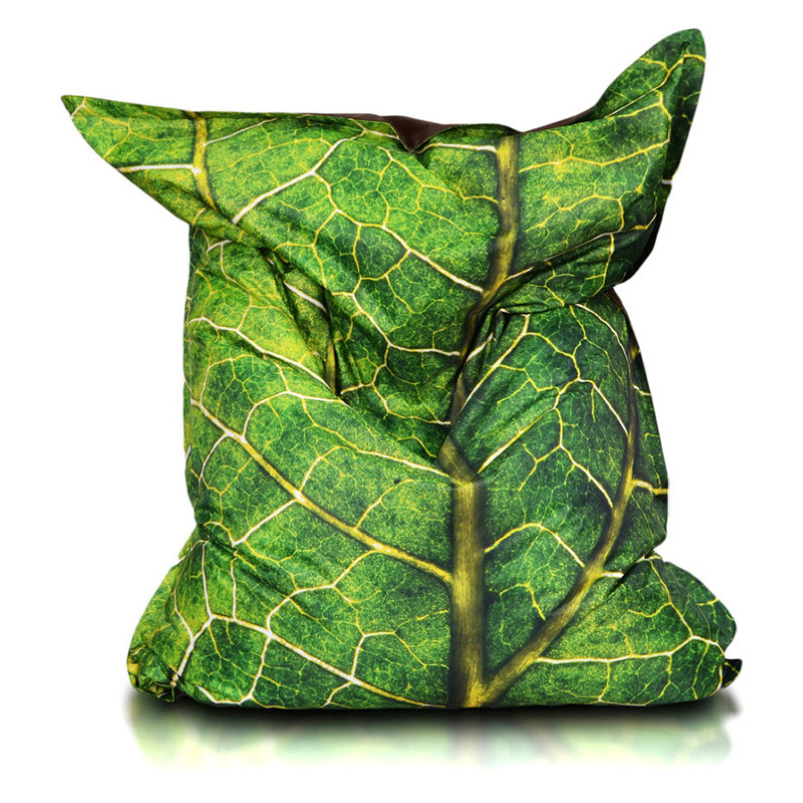 Turbo Beanbags Pillow Style Premium Large Bean Bag Chair - Green Leaf Print