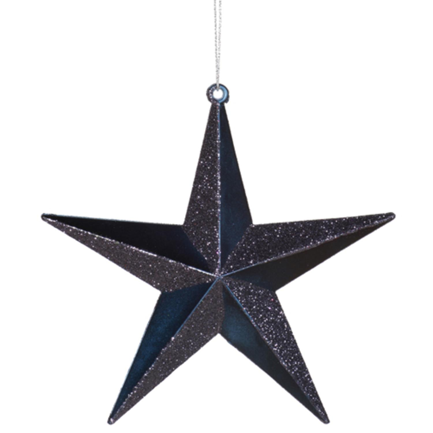 "8"" Classical Sea Blue Matte with Alternating Glitter Christmas Star Ornament"