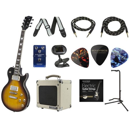 monoprice route 66 black guitar with gig bag and 5w tube amp blues overdrive pedal tuner. Black Bedroom Furniture Sets. Home Design Ideas