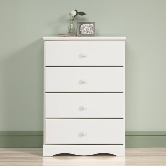 sauder storybook 4 drawer dresser soft white finish. Black Bedroom Furniture Sets. Home Design Ideas