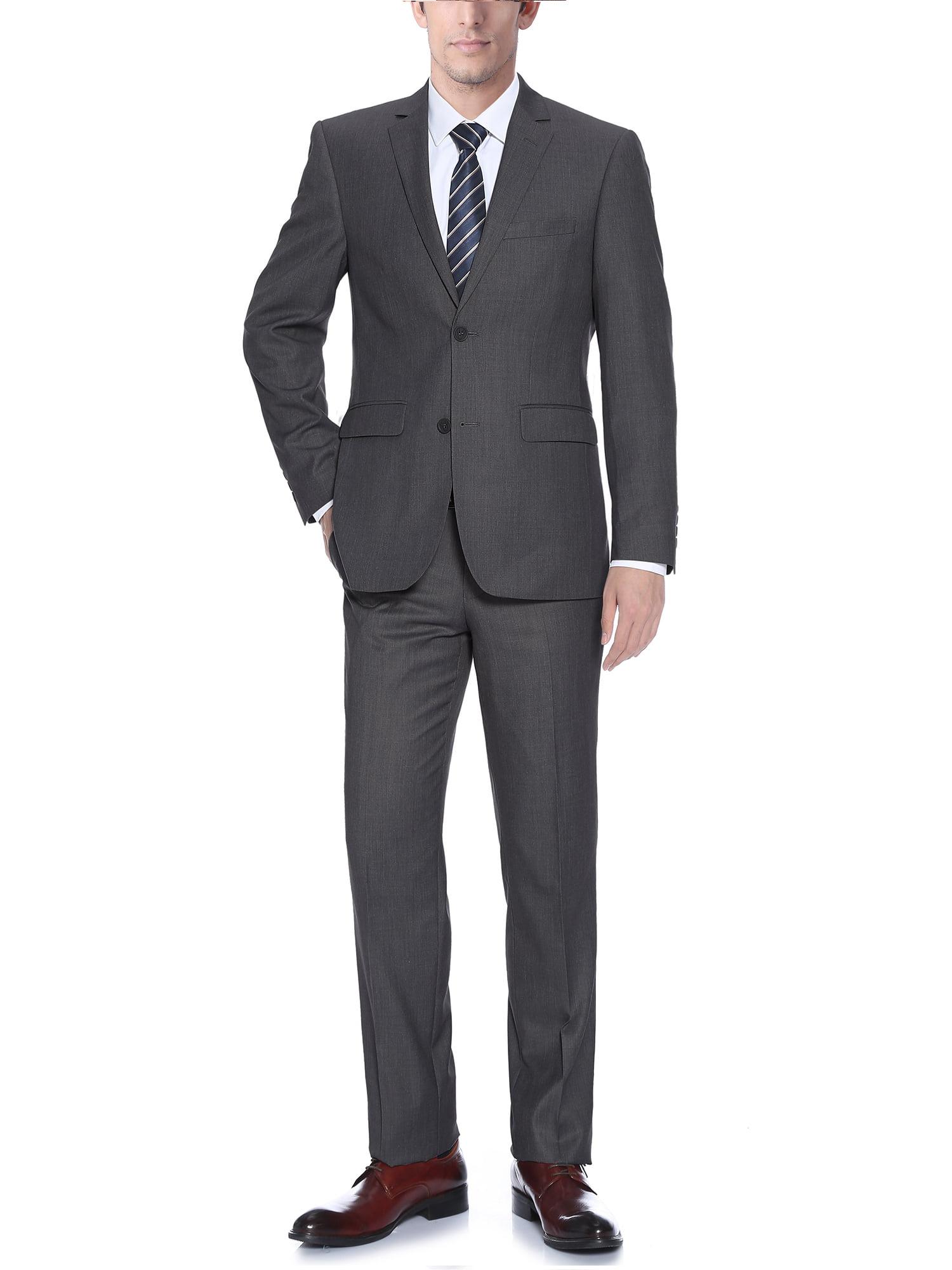 Barzetti Big Men's Dark Grey Classic Fit Italian Styled Two Piece Suit