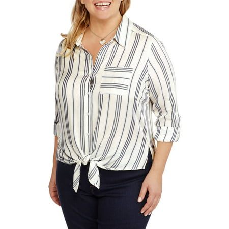 Heart and Crush Women's Plus Stripe Shirt with Pocket and Tie Front (Hearts Plus)